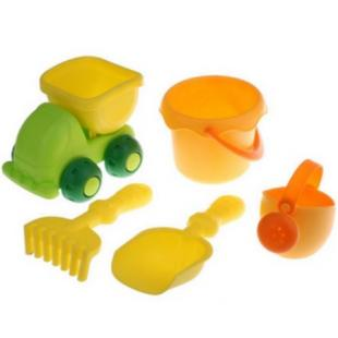5pcs Beach Garden Tool Kit Bucket Spade Truck Kid Sand Build