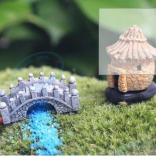 Resin Mini Bridge Miniature Landscape Fairy Garden Moss Terrariu
